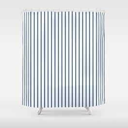 Iris Blue Pinstripe On White Shower Curtain