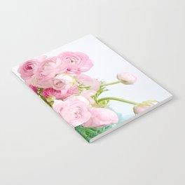 Dreamy Shabby Chic Ranunculus Peonies Roses Print - Spring Summer Garden Flowers Mason Jar Notebook