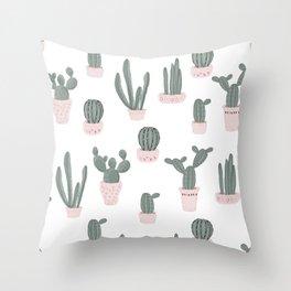 Elegant Cacti in Pots Pattern Throw Pillow