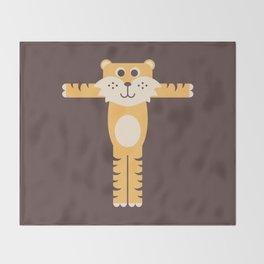 Letter T // Animal Alphabet // Tiger Monogram Throw Blanket