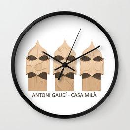 Gaudi's Casa Mila - Chimney Figure Heads Wall Clock
