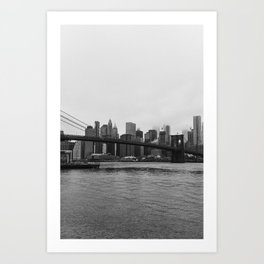 Brooklyn Bridge and downtown New York, USA | Sky and water | abstract travel art | Tipical NY building and view architecture photo Art Print Art Print