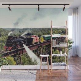 A steam train crosses the 156-foot-tall Bass Point Creek Bridge Wall Mural
