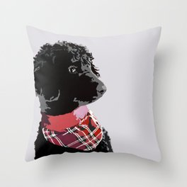 Black Standard Poodle in Grey and Red Throw Pillow