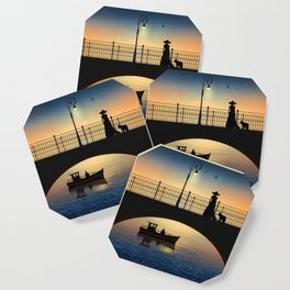 Romantic meeting by the river in the sunset Coaster