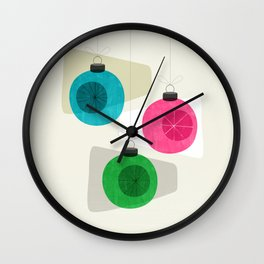 Retro Holiday Baubles Wall Clock