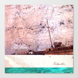 Sea-mood zakynthos, sand blue boat ship tan ocean , Christmas gift , society6 Canvas Print