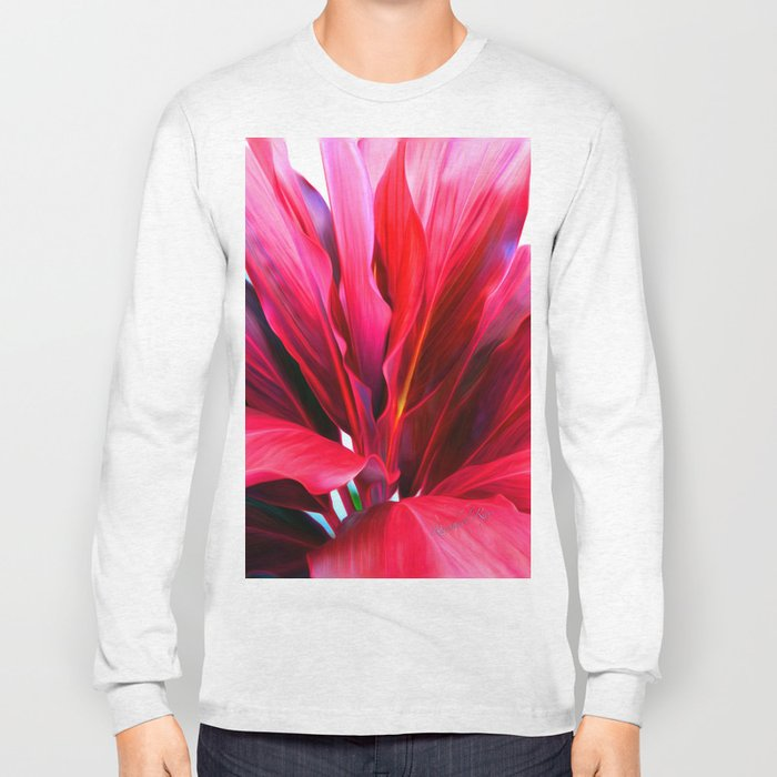 Red Ti Leaf Long Sleeve T-shirt