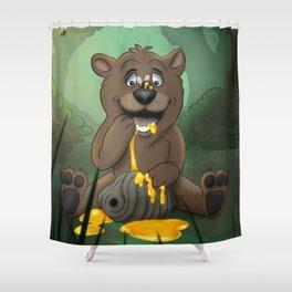 Baby Bear in the Honey Pot Shower Curtain