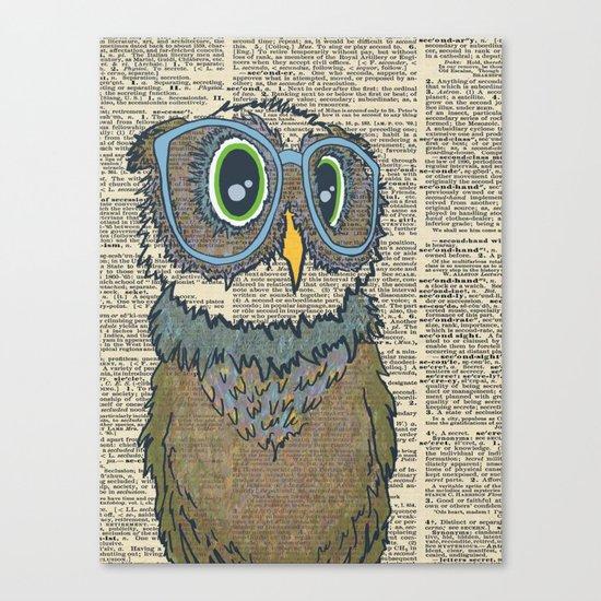 Owl wearing glasses Canvas Print
