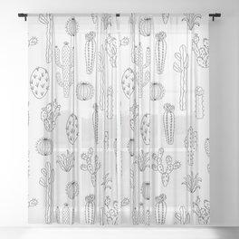Cactus Silhouette Black Sheer Curtain