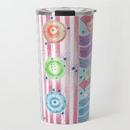 three buttons Travel Mug