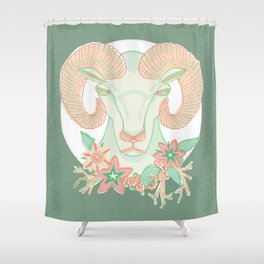 Halftone Ram Shower Curtain