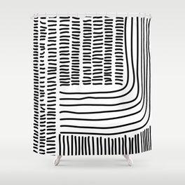Digital Stitches thick white Shower Curtain