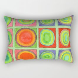 Green Grid filled with Circles and intense Colors Rectangular Pillow
