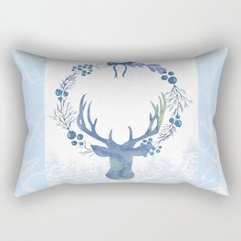 Stag Of The Winter Evergreens Rectangular Pillow