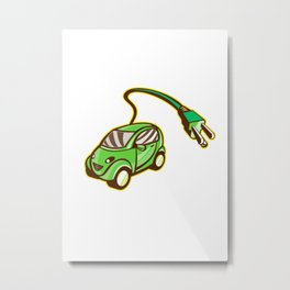 Plug-in Hybrid Electric Vehicle Isolated Metal Print