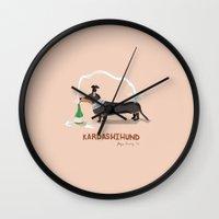 kardashian Wall Clocks featuring KIM KARDASHIHUND by Faye Finney