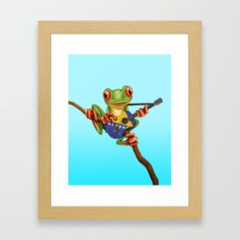 Tree Frog Playing Acoustic Guitar with Flag of Bosnia - Herzegovina Framed Art Print