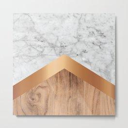 Stone Arrow Pattern - White Marble, Rose Gold & Wood #924 Metal Print