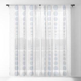 Up and down polka dot pattern in white and a pale icy gray Sheer Curtain