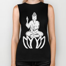 black and white buddha Biker Tank