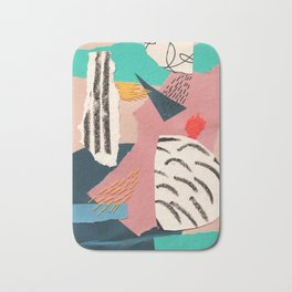 abstract collage with embroidery Bath Mat
