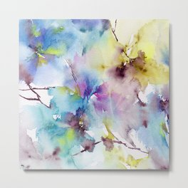Blue abstract pattern. Abstract flowers. Metal Print