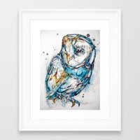 glass Framed Art Prints featuring The Sea Glass Owl by Abby Diamond
