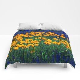GOLDEN DAFFODILS PURPLE-GREEN GARDEN Comforters