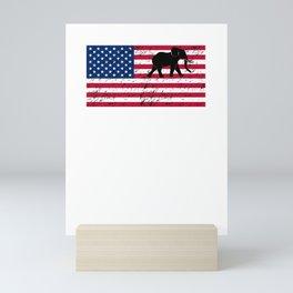 Elephant Patriotic American Flag Mini Art Print
