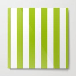 Bright Pistachio Nut Green and White Cabana Stripes Metal Print