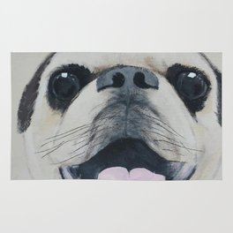 Pug Portrait - Original painting by Tracy Sayers Trombetta Rug