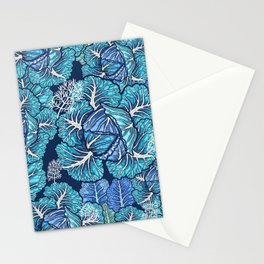 blue winter cabbage Stationery Cards
