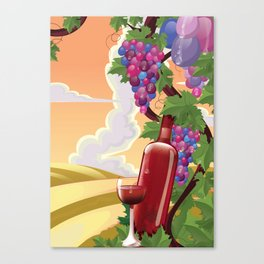 Vineyard in the evening Canvas Print