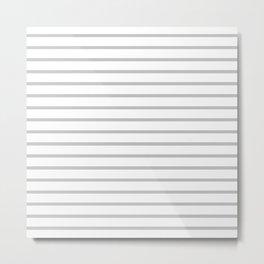 Horizontal Light Grey Stripes Pattern Metal Print