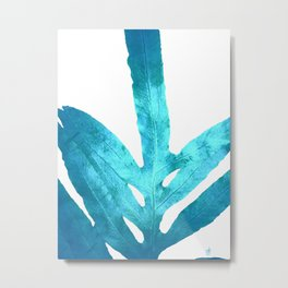 Ocean Blue Fern Metal Print