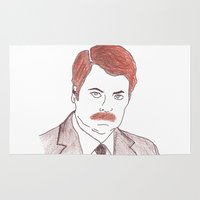 swanson Area & Throw Rugs featuring Ron Swanson  by nicoleskine