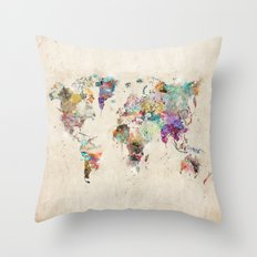 world map rustic Throw Pillow