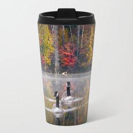 Two Canada Geese swimming in Fall Travel Mug