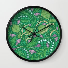 Lilies of the valley and crocuses on green background Wall Clock