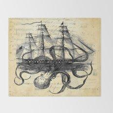 Kraken Octopus Attacking Ship Multi Collage Background Throw Blanket
