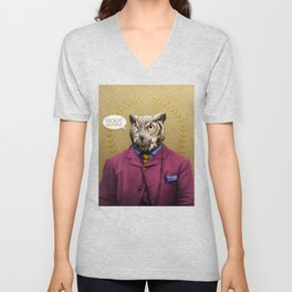 "Mr. Owl says: ""HOOT Happens!"" Unisex V-Neck"