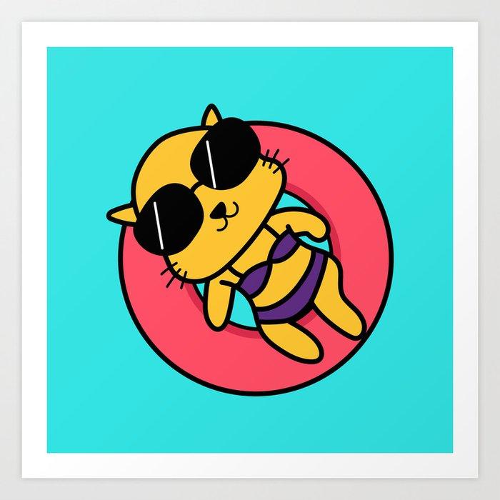 Summer Kitty Art Print