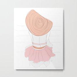 Pink Hat Fashion Girl Metal Print