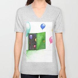 Balloon party (pointillism) Unisex V-Neck