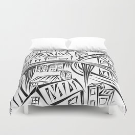 Town Circled By Roads Duvet Cover
