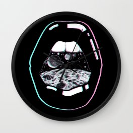 Space Lips Black Wall Clock
