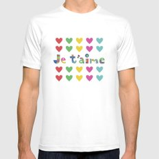 Je t'aime  MEDIUM White Mens Fitted Tee