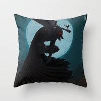 berserk Throw Pillows featuring Berserk Armor by Yvan Quinet